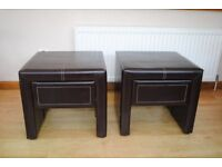 Pair of Faux Leather Bedside Cabinets