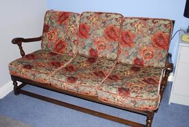 ERCOL THREE PIECE SUITE AND TWO CHAIRS