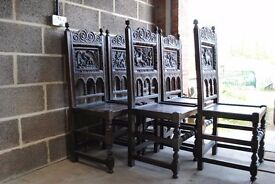 6 ANTIQUE OAK CARVED BACK DINING CHAIRS - HUNTING SCENES