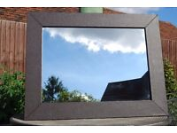 Large dark brown faux leather mirror