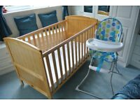 Kiddicouture Cot Bed (in pine) with a foam cot mattress together with a childs high chair