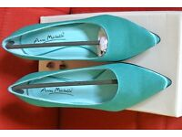 BNIB Turquoise Stiletto Shoes by ANNE MICHELLE Size 3 UK 36 Eur Textile Uppers