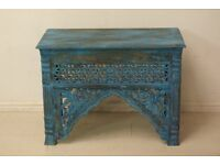 Beautiful hand carved antique solid wood blue console table