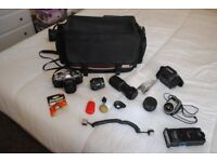 Complete Canon AV1 SLR 35mm Film camera outfit - 28mm to 420mm focal length.