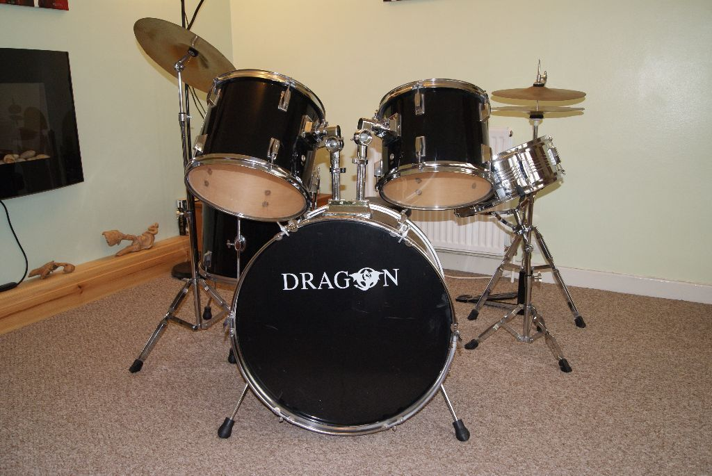 Drum Kit By Dragon Full Size 5 Piece Set With Stool In