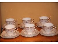"Vintage Staffordshire Bone China ""Clive"" White and Gold Trios - Cups, Saucers and Tea Plates"