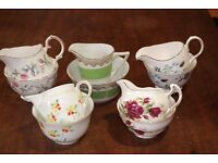 Vintage Milk Jugs and Sugar Bowls - 5 Sets include Colclough and Duchess