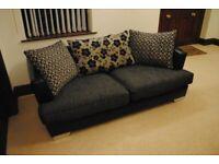 3 Seater Leather & Fabric Mix Sofa