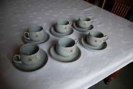 Denby Cups and Saucers -Reflection design - 6