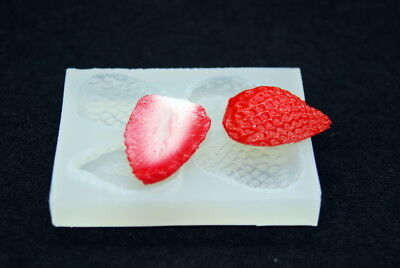 Strawberry 4p, Silicone Fruit Mold Chocolate Polymer Clay Jewelry Soap Wax Resin