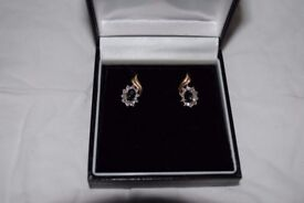 9 Carrot Gold Diamond Solitaire Earings, Worn once, Boxed