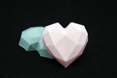 2D Luxury Heart, Silicone Mold Mould Chocolate Polymer Clay Soap Candle Wax