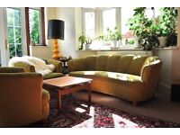 Sofa and two armchairs from the 50ies, green velvet