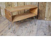BOX table hairpin legs TV AV inustrial rustic salvage vintage steel wood Brighton London gplanera