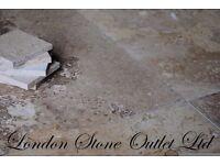BRAND NEW - Golden Walnut Honed & Filled Travertine 61cm x 40.6cm x 1.2cm Tiles - £17/m2