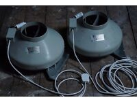 Two Systemair RVK 160mm L1 fans for grow room
