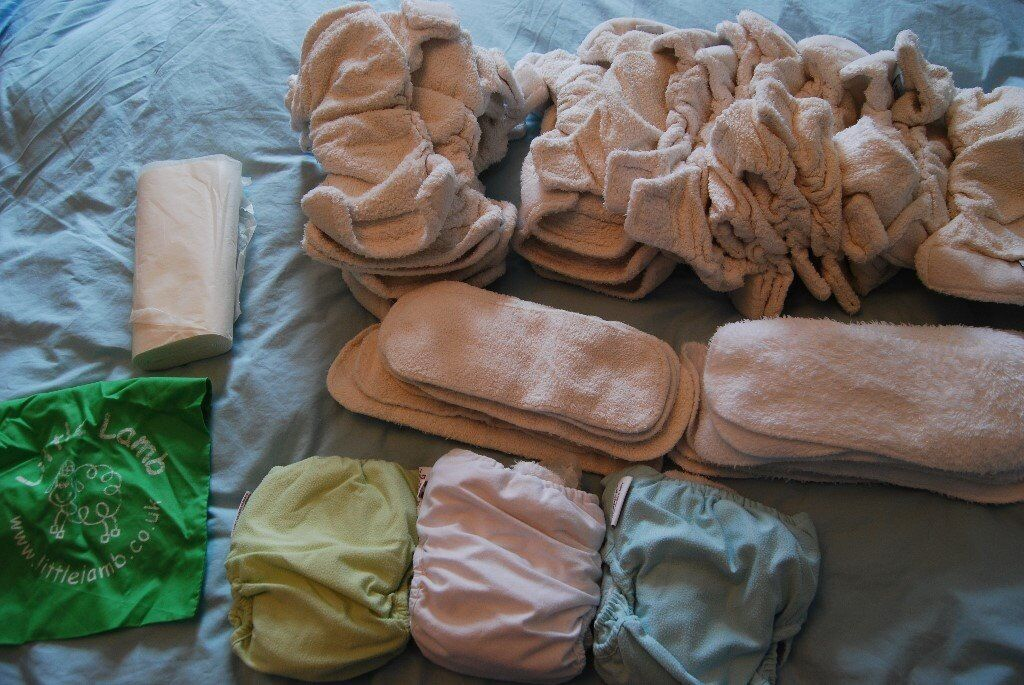 Used Bamboo Nappies from Little Lamb - Good condition