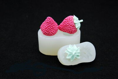 Strawberry SET,Silicone Fruit Mold Chocolate Polymer Clay Jewelry Soap Wax Resin