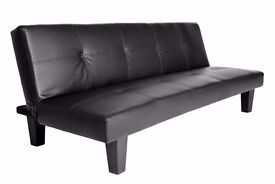 **7-DAY MONEY BACK GUARANTEE!** Faux Leather 3 Seater Sofa Bed Sofabed - BRAND NEW!