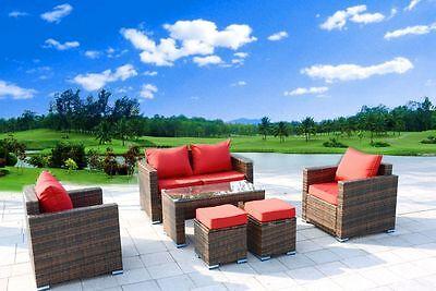 New 6 Piece Outdoor PE Rattan Wicker Patio Furniture Garden Sectional Sofa Set