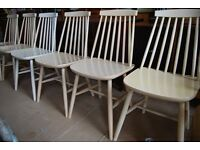 ERCOL style CHAIRS x6 stick-back scandi mid mid vintage upcycle paint rustic industrial gplanera