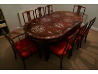 Antique Chinese Rose Wood Dining Table & 8 Chairs - Mother Of Peal Inlays