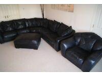 DFS Black Leather Corner Sofa, Snuggled Chair & Large Footstool