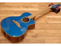 Fender California Series Newporter Classic Cosmic Turquoise Acoustic Guitar With Gig Bag