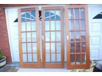 Three 15-pane, bevel glazed, solid mahogany doors with brass handles and hinges.