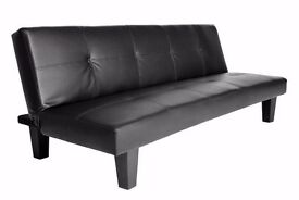 **7-DAY MONEY BACK GUARANTEE!** SALE! Black or Brown Leather Sofabed - SAME DAY DELIVERY!