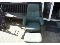 RECLINER LEATHER CHAIR WITH FOOT STOOL
