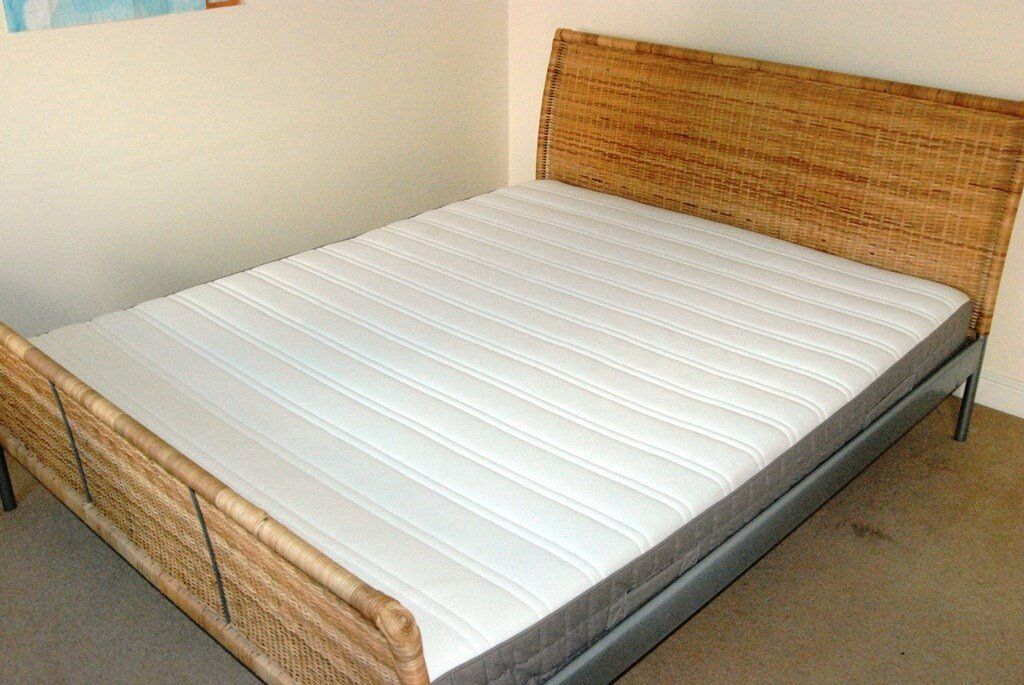 IKEA King Bed Frame and Ikea Hamarvik king mattress wicker ...