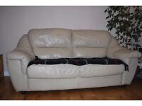 Two cheap Cream Leather Sofas