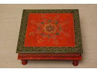 Antique Hand painted orange Indian chowki meenakari table