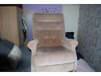 2 BROWN FABRIC ARMCHAIRS