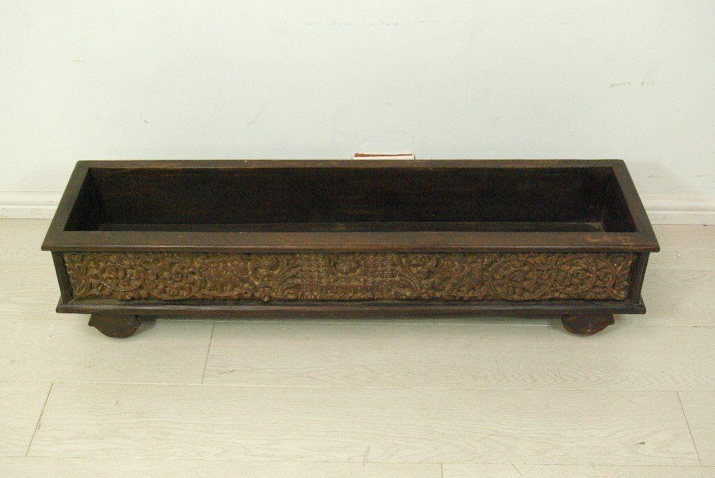 Beautiful antique brown wooden hand carved indoor/outdoor flower box