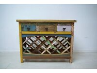 Hand carved solid teak wood wine rack/console table with 3 drawers