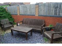 Teak Bench,Table and 2 Chairs