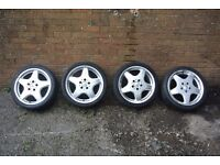 "GENUINE AMG ALLOY WHEELS 17"" inch WITH TYRES 205 40 17 FULL SET"