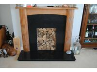 Pine Fire surround with black granite hearth and back panel