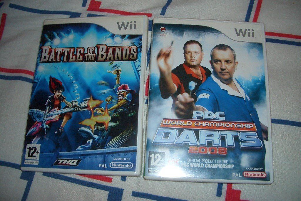 Nintendo Wii Games Battle of The Bands & PDC World Championship Darts 2008 Boxed