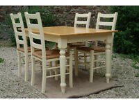 Solid Beech Dining Table & Four Chairs - *Free Local Delivery