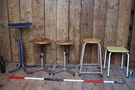STOOLS industrial etc x5 collection vintage mid century modern steel wood salvage job lot gplanera