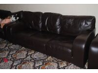 3 Seater chocolate leather £300 and matching 1 seater chair £100. Or £375 for the two.