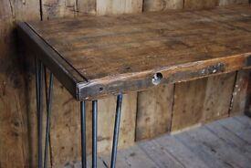 INDUSTRIAL rustic table desk console work patina character salvage hunters reclaimed wood gplanera