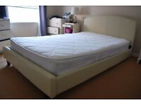Cream faux-leather small double bed with mattress included