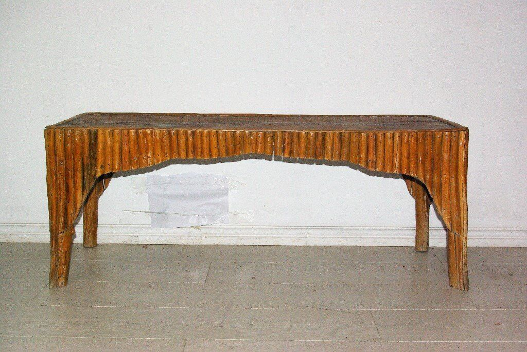 beautiful antique tree wood bamboo carved bench
