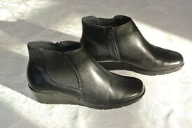 Womens Black Leather Ankle Boots (Brand New) UK 5.5N / US 7.5N