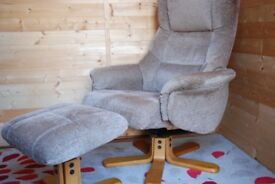 Comfy swivel chair with footstool