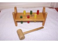 Stack up toy with bell inside (boxed) 1970's Wooden Pegs Hammer Toy - Vintage 1970's - good cond